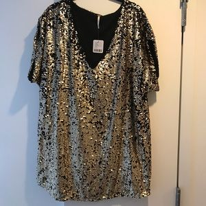 Free People Oversize Gold Sequin Mini Dress Size S